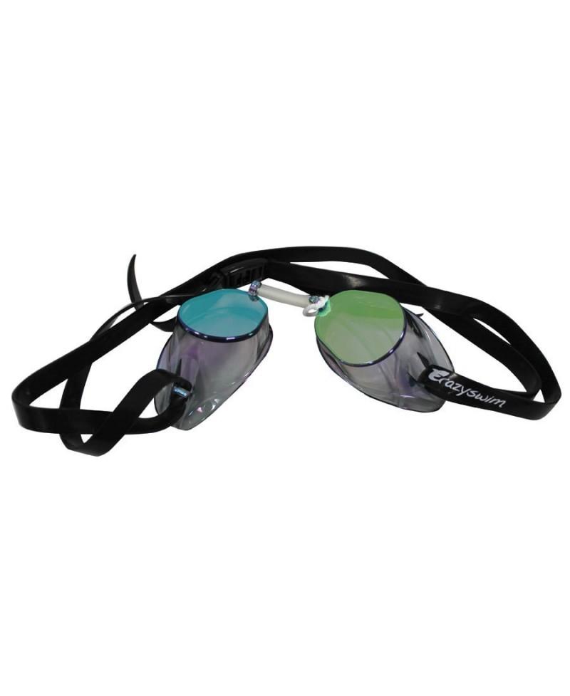 b8e6aaaf704ae Lunette de natation noir Crazy Basic Mirror verre arc en ciel